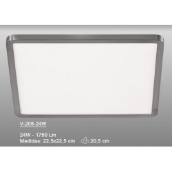 Downlight Led (24W) Cuadrado Níquel Slim