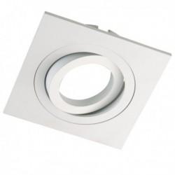 Kit Foco Aluminio Blanco cuadrado (Foco+bombilla + portalámparas)