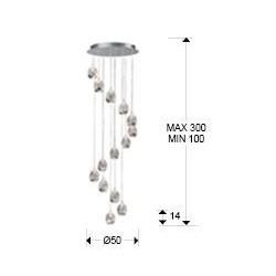 Lámpara colgante Led Rocio 14 luces (70W)