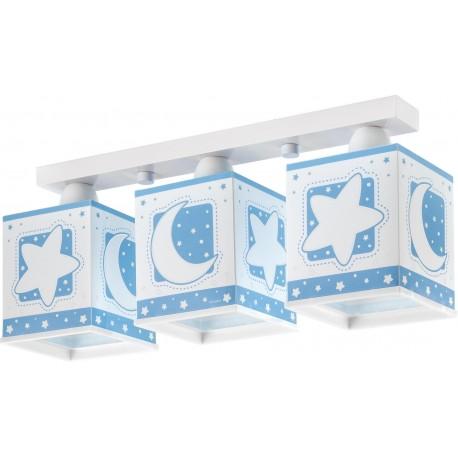 Lámpara de techo Lunas y estrellas azul