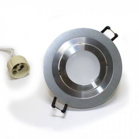Kit Foco Aluminio redondo (Foco + bombilla+ Portalámparas)