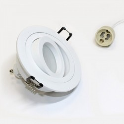 Kit Foco Aluminio Blanco mate (Foco+bombilla+Portalámparas)