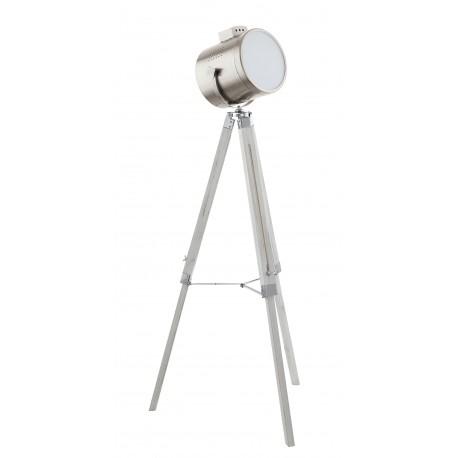 Lámpara de pie tripode con madera y foco de cine UPSTREET
