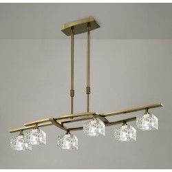 Lámpara de techo Led Zen 6 luces Cuero envejecido