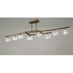 Plafón de techo Zen 8 luces Cuero envejecido