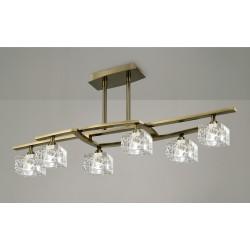Plafón de techo Zen 6 luces Cuero envejecido