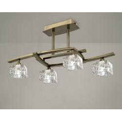 Plafón de techo Zen 4 luces Cuero envejecido