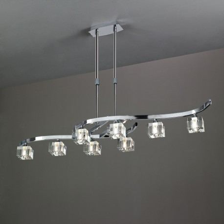 Lámpara de techo Led Cuadrax óptico 8 luces Cromo brillo