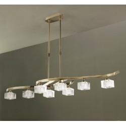 Lámpara de techo Cuadrax 8 luces Cuero envejecido