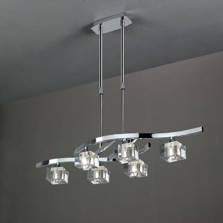 Lámpara de techo Cuadrax 6 luces Cromo brillo