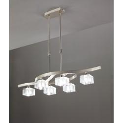 Lámpara de techo Cuadrax cristal óptico 6 luces Níquel satinado