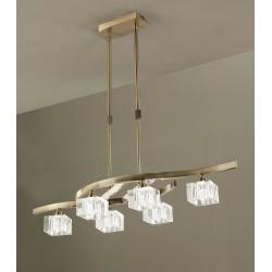 Lámpara de techo Cuadrax cristal óptico Cuero envejecido