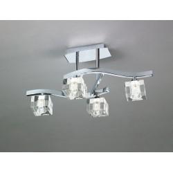 Plafón de techo Cuadrax 4 luces cristal óptico Cromo brillo