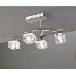 Plafón de techo Cuadrax 4 luces de cristal óptico Níquel satinado