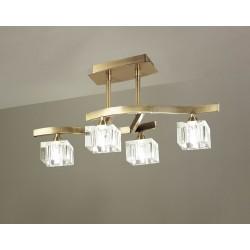 Plafón de techo Cuadrax 4 luces cristal óptico Cuero