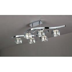 Plafón de techo Cuadrax 6 luces cristal óptico Cromo brillo