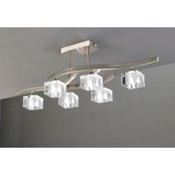 Plafón de techo Cuadrax 6 luces cristal óptico níquel satinado