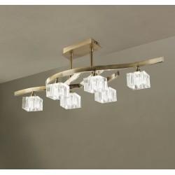 Plafón de techo 6 luces Cuadrax cristal óptico cuero envejecido