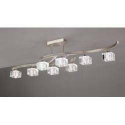 Plafón de techo Led Cuadrax 8 luces Níquel satinado