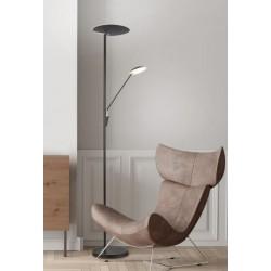 Lámpara de pie Led para salón EDMONTON NEGRA (33W + 7.5W). Cambio de tonalidad de luz + regulación de luz