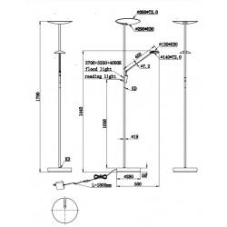 Lámpara de pie Led EDMONTON Cuero envejecido (33w + 7.5W). Tres tonos de luz + regulación