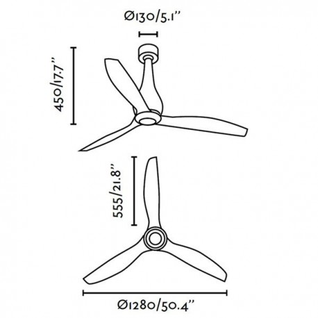 Ventilador de techo sin luz MINI-ETERFAN